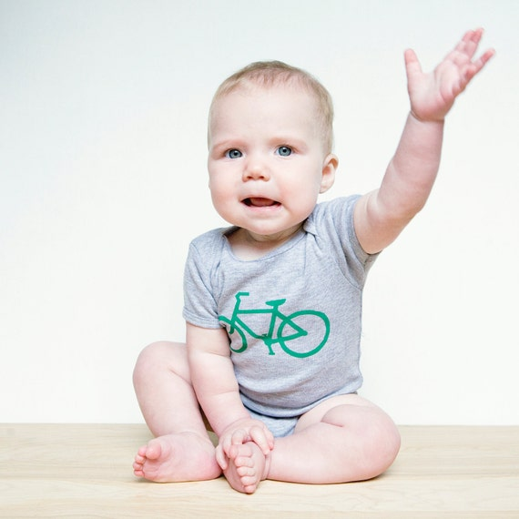 Green Bike on Heather Gray Baby One Piece Bodysuit- Bicycle