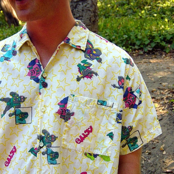 retro 80s mens early manga button down shirt size large