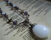 Edge of Seventeen --- Opalite and Czech Glass Dove Necklace Stevie Nicks
