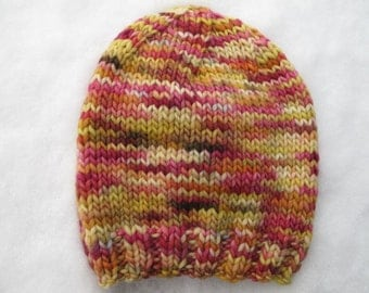Floral Baby Hand-Knitted Merino Wool Baby Hat (size six to twelve months)