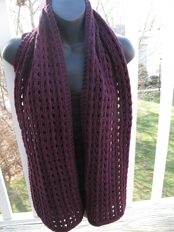 Aubergine Hand Knit Cotton and Wool Lace Scarf