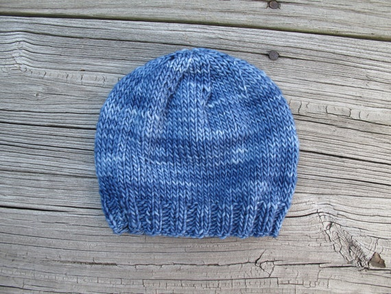 Denim Baby Hand-Knitted Merino Wool Baby Beanie / Hat (size newborn to six  months)