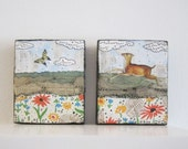 Butterfly Chasing. Original Mini Collage Lanscapes