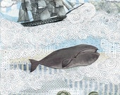 """Whale Painting Reproduction Art Print. 5x7"""" or 8x10"""" , Whimsical Nautical Giclee Art Print"""