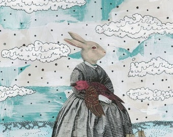 Clearance! Surreal Art Print Mixed Media Collage Painting , Whimsical Painting Reproduction , 5x7 . Print 1107