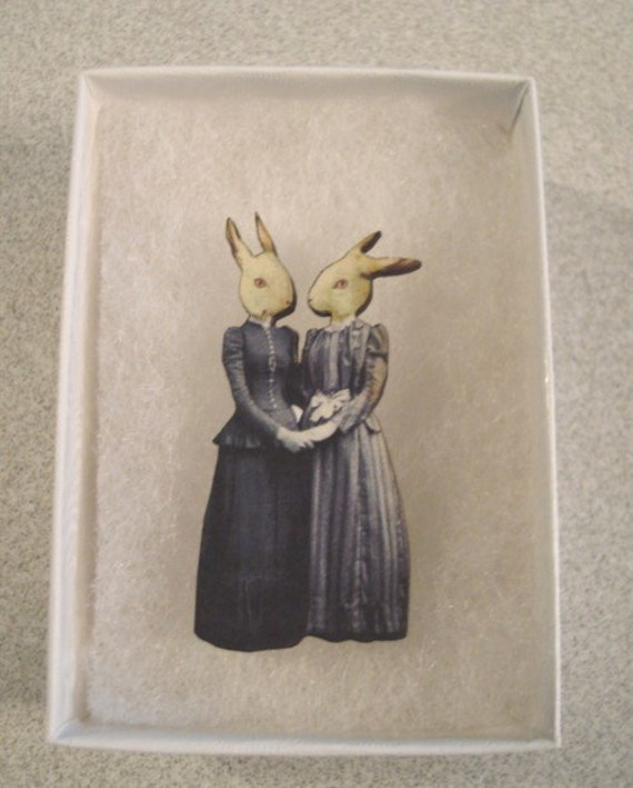 Bunny Rabbit Brooch Pin , Animal Brooch , Collage Art Jewelry , Whimsical Art. Last one!!