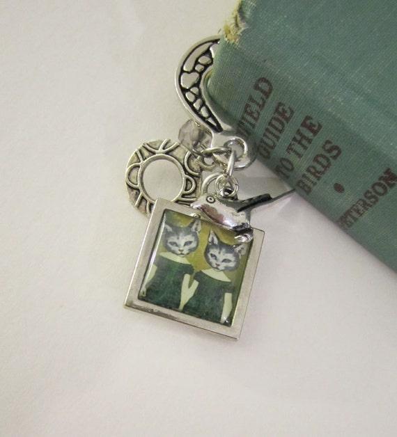 Silver Metal Bookmak , Cat Bookmark , Whimsical Art