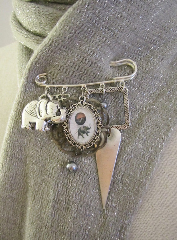 Elephant Brooch Pin , Silver Shawl Pin or Scarf Pin , Collage Jewelry , Mixed Media Jewlery