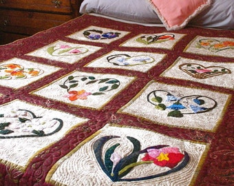 Queen Coverlet Quilt Hand Appliqued Heart and Flower Motif Gorgeous Detail