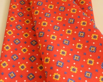 Vintage Fabric Red Cotton Print 1 Plus Yard / Country 80's