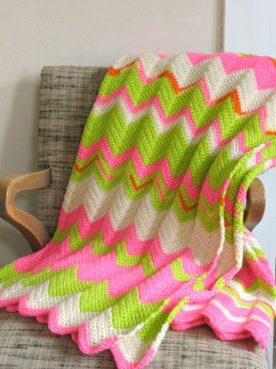 Psychedelic Zigzag Afghan Wool Neon Pink Lime Green By