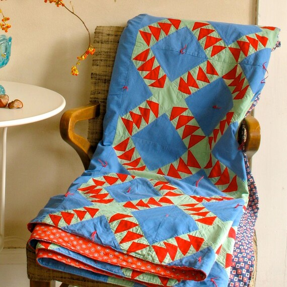 Vintage Patchwork Quilt Coverlet Wild Goose Chase Pattern Beautiful Bright Solid Colors
