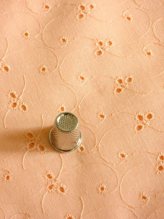 Peach Eyelet Lace Cotton Blend Fabric Vintage 3 Plus Yards