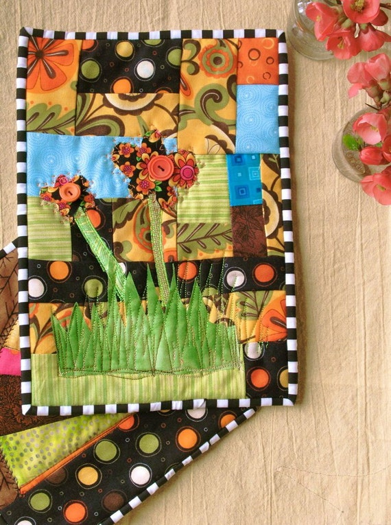 Quilted Kitchen Wall Art and Pot Holder Set of 2 Bright Colors Flowers Fans