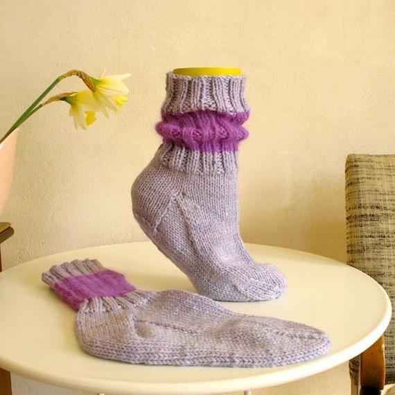 Handknit Socks Merino Wool Angora / Lavender Purple
