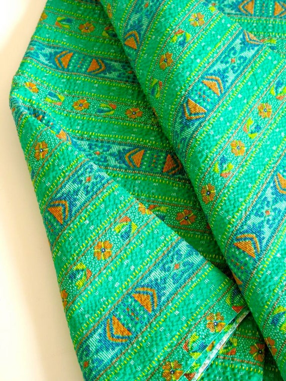 Vintage Green Seersucker Tribal Print Cotton Fabric 2 yards