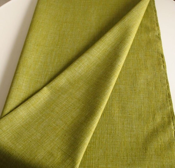 Vintage Cotton Fabric Avocado Green Medium Weight Textured Weave 2 Pieces 1 Yard Each