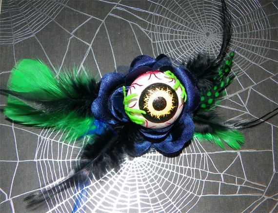 Blue and Green Zombie Eyeball Hair Clip