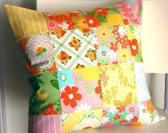 SALE Retro Vintage-Style Patchwork Pillow Cover 18 inch 18x18