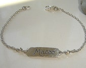 Beautiful Silver handmade Silver bracelet HAND ENGRAVED with your choice of Name and font style
