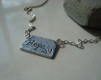 Personalized Hand-Stamped Silver Tag Hope with Epoxy Necklace