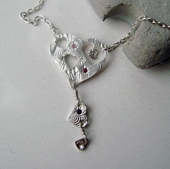 Beautiful Fine Silver Heart Necklace