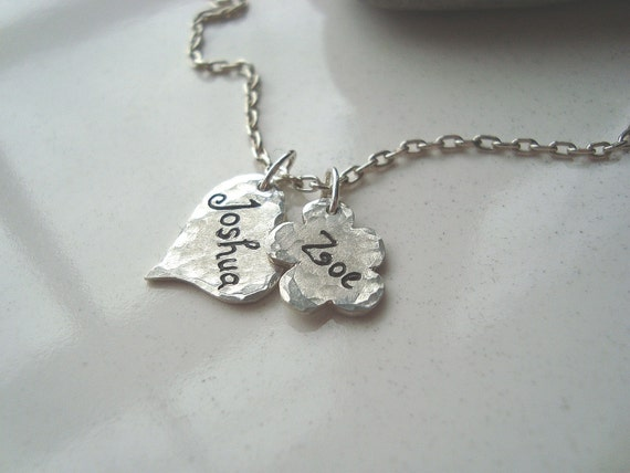 Personalized Hand Engraved  Fine Silver Heart and Flower Charm and Sterling Silver Necklace