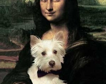 Westie and Mona Lisa print, Gift for Dog Lover, Fun Dog Art