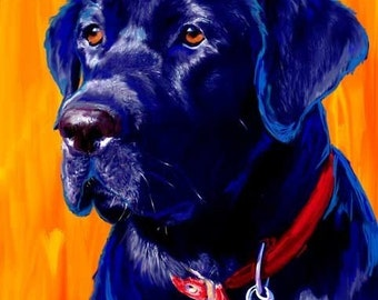 Black Lab Dog Art for Labrador Retriever fans