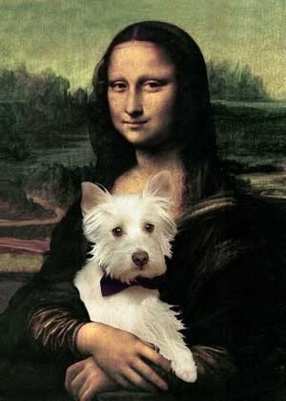 Westie And Mona Lisa Print Gift For Dog Lover Fun Dog Art