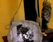 Carnival Scene Screenprinted Leather Shoulder Bag One of a Kind