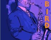 Charlie Parker Original African American Jazz Art, Saxaphone Art, Blue Note Records Art