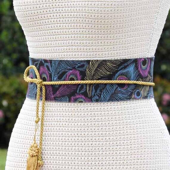 REVERSIBLE Leather Obi Wrap Sash Belt - Peacock Feather fabric - custom color leather - cinch wrap belt - XS S M L XL Petite & Plus Size