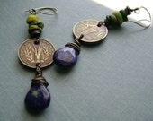 Vintage Coin, Lapis, Trade Bead, and Mixed Metal Assemblage Earrings