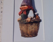 OOAK Gnome Lady in Basket Matted Print 3D Decoupage