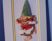 Happy Dancing Gnome Lady Matted 3d Picture