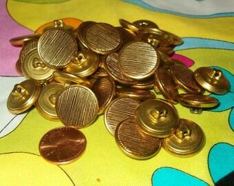 25 Textured Goldtone Metal Buttons Lot