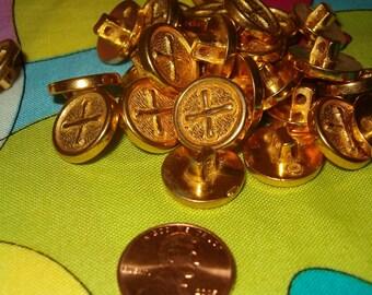 Faux Sewn Button Plastic Goldtone Lot of 25