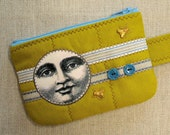 Linen Zipper Cell Phone Case - Wallet - Zipper Pouch -  Green Moon Man