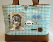 Art Quilt Handbag - Linen and Leather  Tote - Bonjour Hello