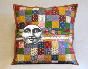 Quilted Pillow - Postage Stamp Quilt - Nineteenth Century Prints - Man in the Moon