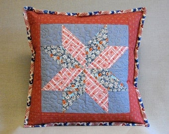 Quilted Pillow - Eight Pointed Star Quilt Block - Feedsack  Prints
