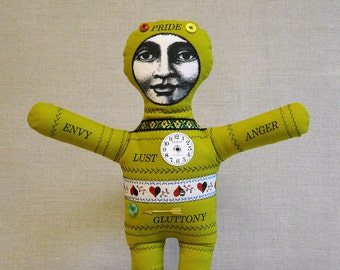Linen Voodoo Doll - 7 Deadly Sins - Pea Green Linen 2