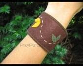 Vine and Leaf Wool Felt Wrist Cuff
