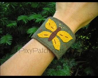 Fluttering Butterfly Wool Wrist Cuff