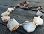 GREY SKY ROCK CANDY - Glorious Agate Slices and Copper Super Long Statement Necklace