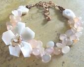 SALE BELLE FLEUR Rough Cut Pink Opal Chalcedony Teardrops Pearl Flower Pendant Multi Strand Necklace