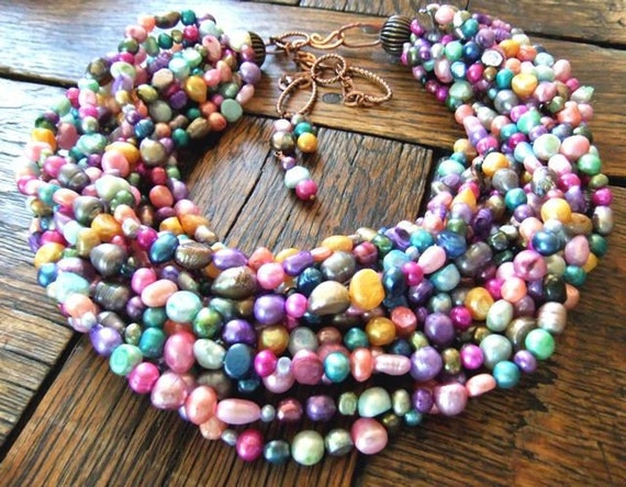 INSANITY LUXE Fruit Punch Colored Pearls and More Pearls with Copper Multi Strand