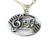 Musical Pendant Necklace / Streling Musical Note Sterling Silver