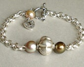Sterling Silver Pearl Bracelet Heart Charm Love Chain Links Valentines gift